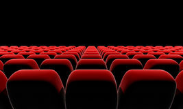 Cinema or theater seats. Cinema or theater seats in front of black screen with clipping path Royalty Free Stock Image