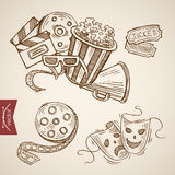 Cinema theater show drama ticket popcorn lineart vector retro Royalty Free Stock Photography