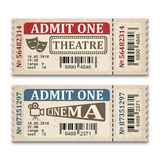 Cinema and theater tickets in retro style. Two admission tickets isolated on white background. Vector illustaration vector illustration