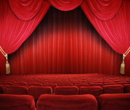 Cinema Theatre. Classic cinema with red seats Royalty Free Stock Photos