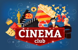 Cinema Theatre Club Background vector illustration