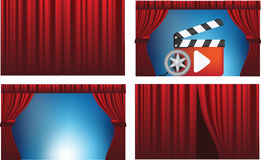 Cinema or theatre cutains opened and closed Stock Photos
