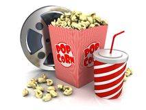 Cinema theatre objects. Film reel, popcorn and cup of soda over white background Stock Photography
