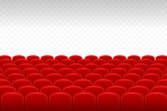 Cinema, theatre. Rows of red velvet seats with transparent background, free space for your design needs stock illustration