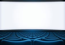 Cinema screen with blue seats backgound 3d illustration. Cinema theatre screen with blue seats backgound Royalty Free Stock Photography
