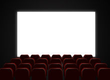 Cinema theatre screen and chairs. Illustration of cinema or theatre room with blank white screen and chairs Stock Photos