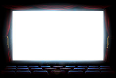 Cinema Theatre Screen. An illustration of the interior of a cinema movie theatre with copyspace on the screen with red curtains vector illustration
