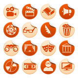 Cinema and theatre stickers. Set of cinema and theatre stickers Royalty Free Stock Images