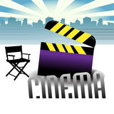 Cinema theme. Abstract colorful illustration with clapboard and movie director chair in front of the buildings of a city. Cinema concept Royalty Free Stock Photography