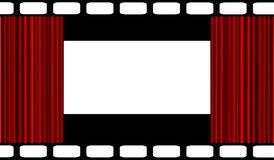 Cinema theme. Illustration of open red curtain framed with film strip Stock Image