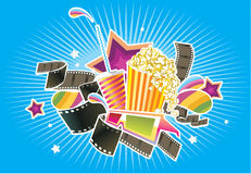 Cinema things. Different objects of cinema entertainment Royalty Free Stock Photo