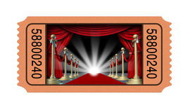 Cinema Ticket. And movie stub with an open window into a theater on a red carpet and velvet curtains with brass partitions leading to a glowing spot light as an royalty free illustration