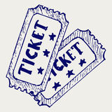 Cinema ticket. Doodle style. Sketch vector Royalty Free Stock Photo