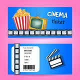 Cinema Ticket Concept. Vector Design with TV and PopCorn. Realistic Illustration, Royalty Free Stock Images