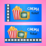 Cinema Ticket Concept. Vector Design with TV and PopCorn. Realistic Illustration, Stock Images
