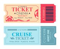 Cinema Ticket Cruise Coupon Vector Illustrations Royalty Free Stock Photos