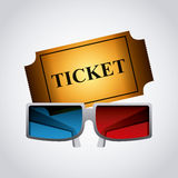 Cinema ticket icon. Cinema ticket and 3d glasses over white background. colorful design. vector illustration Stock Photography