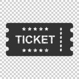 Cinema ticket icon in flat style. Admit one coupon entrance vector illustration on isolated background. Ticket business concept. royalty free illustration