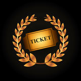 Cinema ticket icon. Golden wreath of leaves and cinema ticket icon over black background. colorful design. vector illustration Stock Photos