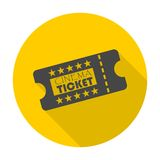 Cinema ticket icon with long shadow Stock Images