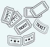 Cinema ticket. Isolated on blue background Royalty Free Stock Photography