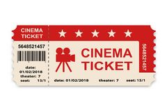 Cinema ticket isolated on white background. Royalty Free Stock Photography