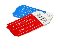 Cinema ticket. Movie access pass. Royalty Free Stock Image