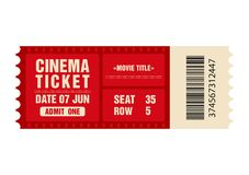 Cinema ticket. Movie ticket template isolated on white background. Vector royalty free illustration
