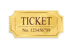 Cinema ticket. Old cinema ticket isolated on a white background, illustration Stock Photo