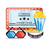 Cinema ticket with popcorn and 3d glasses. Vector illustration Royalty Free Stock Images