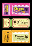 Cinema ticket. Retro cinema ticket with graphic illustration style Royalty Free Stock Photo