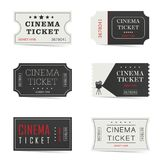 Cinema ticket set illustration. In colorful Royalty Free Stock Image