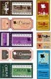 Cinema ticket set. Retro cinema ticket with graphic illustration style Royalty Free Stock Photos