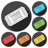 Cinema ticket vector illustration icons set with long shadow Royalty Free Stock Image