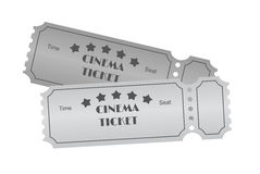 Cinema ticket on white Stock Images