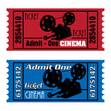 Cinema tickets. Two colorful cinema tickets in red and blue with movie projector shape Royalty Free Stock Image