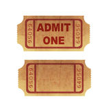 Cinema tickets. Two cinema tickets on white background Royalty Free Stock Photo