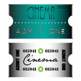 Cinema tickets. Two colorful cinema tickets with the text admit one written on the tickets Royalty Free Stock Images