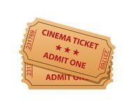 Cinema tickets. Admit one. Vector illustration Royalty Free Stock Photo