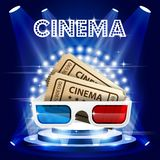 Cinema tickets and 3d glasses on stage in circle of lights. Film premiere poster stock illustration