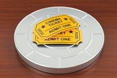 Cinema tickets and film reel on the wooden table. Movie and cine. Ma concept. 3D Stock Image