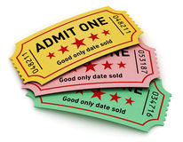 Cinema tickets. Cinema industry entertainment, film production and movie premiere concept: group of color tear-off tickets with Admit One text isolated on white Stock Image