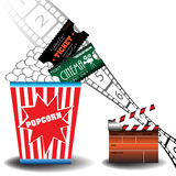 Cinema tickets and popcorn. Abstract colorful illustration with numbered filmstrip, clapboard, two cinema tickets and popcorn Stock Images