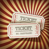 Cinema tickets on retro rays background.  Royalty Free Stock Photos