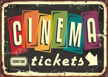 Cinema tickets retro sign with colorful typography stock illustration