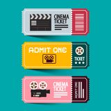 Cinema Tickets Set. Paper Admit One Vector Ticket Set. Cinema Tickets Set. Paper Admit One Vector Ticket Set with Old Camera vector illustration