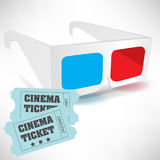 Cinema tickets and three dimensional glasses Stock Image