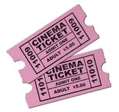 Cinema Tickets. Two pink cinema tickets ro admit one adult isolated on a white background Stock Photography