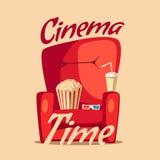 Cinema Time. Home movie watching. Cartoon vector illustration Royalty Free Stock Photo