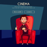 Cinema Time. Home movie watching. Cartoon vector illustration. Red sofa. Web, banner and logo design. Popcorn, cola and 3d glasses. Vintage style. Food and Stock Images